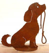 Hund mit Leine (sitzend)