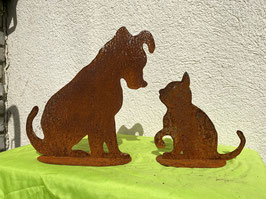 Hund und Katze, zusammen (rostig)
