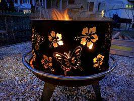 """Feuerschalenring """"Schmetterlinge und Hibiskus"""""""