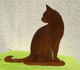 Katze auf Blech 5, sitzend (rostig)