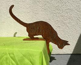 Katze auf Blech 1, kletternd (rostig)