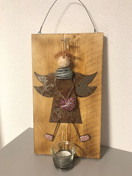 Engel auf Brett mit Teelicht 9