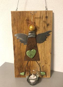 Engel auf Brett mit Teelicht 1