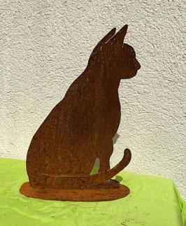Katze auf Blech 4, sitzend (rostig)