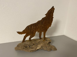 Wolf auf Schwemmholz 1, rostig  (EINZELSTÜCK)