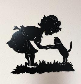 Mädchen mit Katze (schwarz lackiert)