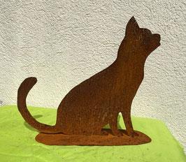 Katze auf Blech 3, sitzend (rostig)