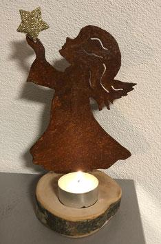 Engel auf Birkenscheibe (Variante 2)