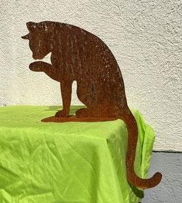 Katze auf Blech 6, sitzend (rostig)
