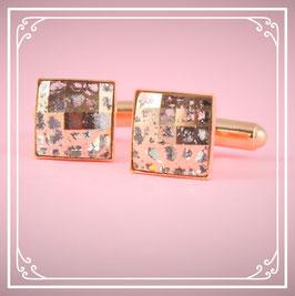 925er rosé vergoldete Manschettenknöpfe - rosé patina