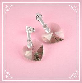 925er Silberohrstecker mit Herz - black diamond