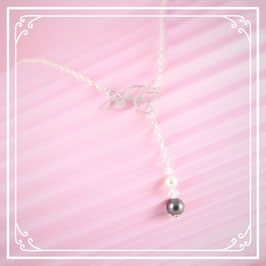 925er Silberkette mit Perlenanhänger