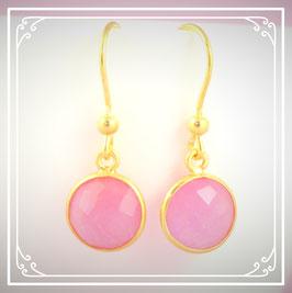 925er vergoldete Silberohrringe pink