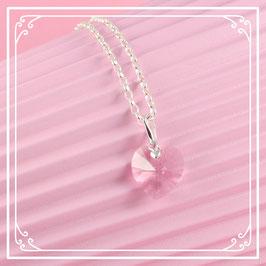925er Silberkette mit Herzanhänger - light rose