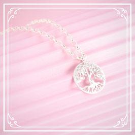 925er Silberkette mit Lebensbaumanhänger