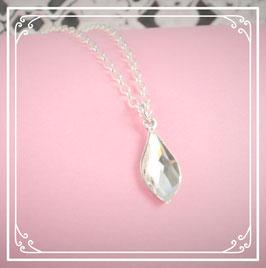 925er Silberkette mit Tropfen - crystal
