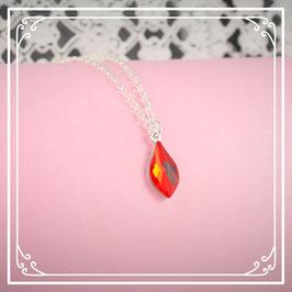 925er Silberkette mit Tropfen - siam red