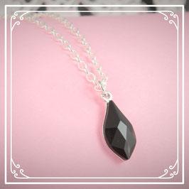 925er Silberkette mit Tropfen - jet black