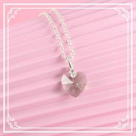 925er Silberkette mit Herzanhänger - black diamond
