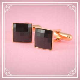 925er rosé vergoldete Manschettenknöpfe - jet black