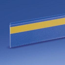 Porta prezzi in PVC antiriflesso, con biadesivo trasparente sul retro.