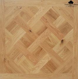 Tafelparkett Versailles Eiche Akzent handgebürstet Massivholz 20 mm 980x980 mm roh naturbelassen