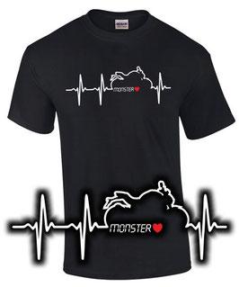 T-Shirt MONSTER HERZSCHLAG 696 796 797 821 1200 Tuning Teile Zubehör , für Ducati Biker