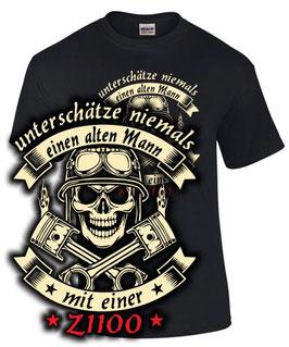 T-Shirt UNTERSCHÄTZE NIEMALS EINEN ALTEN MANN MIT EINER Z1100 Tuning Teile Zubehör z 1100 , für Kawasaki Biker
