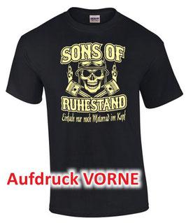 SONS OF RUHESTAND EINFACH NUR MOTORRAD T-Shirt Rentner Biker MC Papa Opa Geschenk VORNE