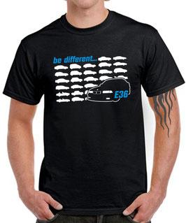E36 Tuning Zubehör 3er T-Shirt Funshirt BE DIFFERENT Spruch Motiv e 36 m3 m 3, für BMW Dreier