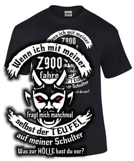 T-Shirt Z900 Tuning Teile Zubehör TEUFEL Motorrad Spruch z 900 , für Kawasaki Biker