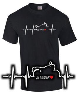 T-Shirt CB 1100 EX HERZSCHLAG cb1100rs cb1100 ex cb1100ex Motorrad , für Honda Biker