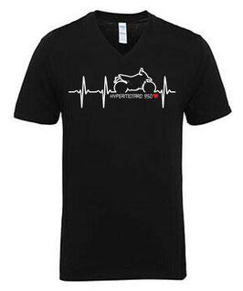 1 x V-NECK T-Shirt, Größe XL, Sonderanfertigung, Motiv HERZSCHLAG HYPERMOTARD 950