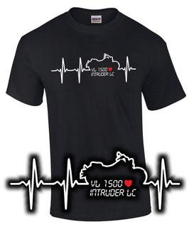 T-Shirt VL 1500 INTRUDER LC HERZSCHLAG Tuning Teile Zubehör vl1500 Motorrad , für Suzuki Biker