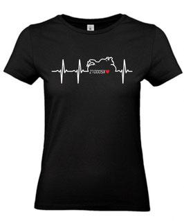 1 x T-Shirt Frauen schwarz Gr. XL, Sonderanfertigung auf Kundenwunsch, Herzschlag Z 1000 SX
