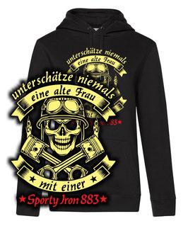 Damen Hoodie SONDERANFERTIGUNG schwarz Gr. XL - Alte Frau Sporty Iron 883