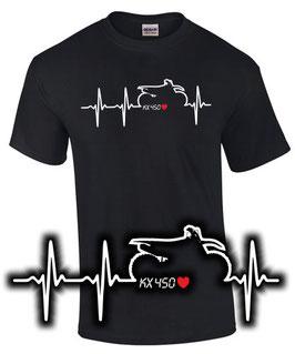 T-Shirt HERZSCHLAG KX 450 Tuning Teile Zubehör kx450 Motocross Motorrad , für Kawasaki Biker