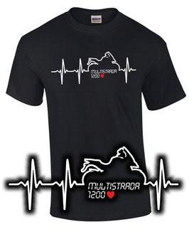 T-Shirt MULTISTRADA 1200 HERZSCHLAG Tuning Teile Zubehör , für Ducati Biker