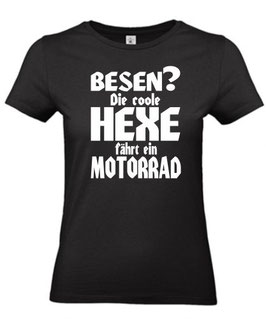 FRAUEN T-Shirt HEXE MIT MOTORRAD Bikershirt Bikerin