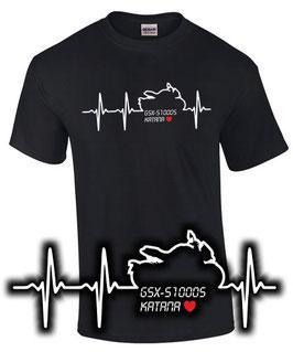 GSX-S 1000S Katana Tuning Teile Zubehör HERZSCHLAG T-Shirt gsxs1000 gsx s 1000 s , für Suzuki Biker