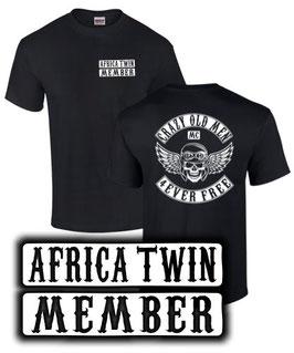 T-Shirt AFRICA TWIN MEMEBER CRAZY OLD MEN MC Tuning Teile Zubehör crf1000L crf 1000 L, für Honda Biker