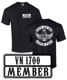 T-Shirt CRAZY OLD MEN MC VN 1700 MEMBER Tuning Teile Zubehör vn1600 , für Kawasaki Biker