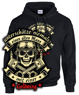 Hoodie UNTERSCHÄTZE NIEMALS EINEN ALTEN MANN MIT EINER GOLDWING Sweatshirt 1200 1500 1800 F6B F6C , für Honda Biker