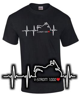 V-Strom 1000 Tuning Zubehör T-Shirt HERZSCHLAG Motorrad Treffen Motiv vstrom v strom , für Suzuki Biker