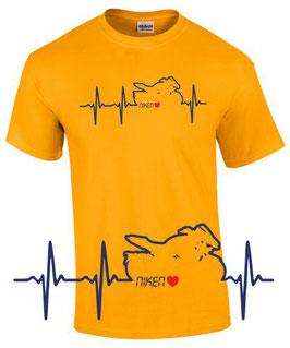 1 x T-Shirt Goldgelb Gr. XXL Sonderanfertigung auf Kundenwunsch - HERZSCHLAG NIKEN - royalblau, rot