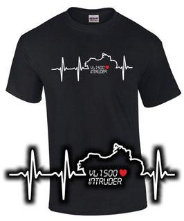 T-Shirt VL 1500 INTRUDER HERZSCHLAG Tuning Teile Zubehör vl1500 Motorrad , für Suzuki Biker