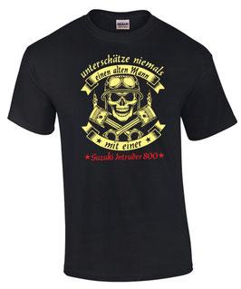 2 x T-Shirt schwarz ( 1 x L, 1 x XXL ) Motiv: Alter Mann Suzuki Intruder 800