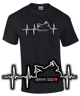 T-Shirt HERZSCHLAG VERSYS 1000 Tuning Teile Zubehör versys1000 Motorrad, für Kawasaki Biker