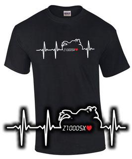 T-Shirt Z1000SX HERZSCHLAG Tuning Teile Zubehör z 1000 sx z1000 sx Motorrad , für Kawasaki Biker