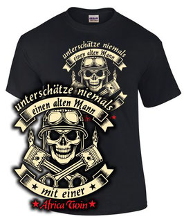 T-Shirt UNTERSCHÄTZE NIEMALS EINEN ALTEN MANN MIT EINER AFRICA TWIN Tuning Teile Zubehör crf1000L crf 1000 L, für Honda Biker